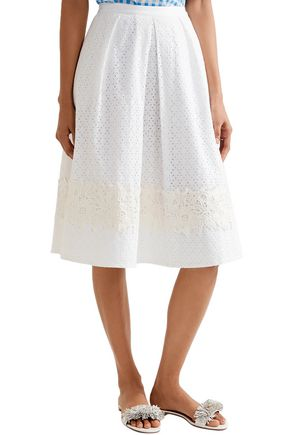 DRAPER JAMES Pleated lace-trimmed broderie anglaise cotton skirt