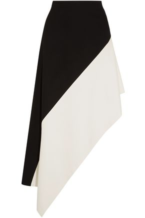ROSETTA GETTY Asymmetric two-tone jersey skirt