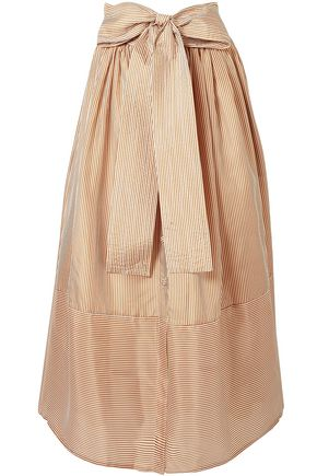 SILVIA TCHERASSI Bow-detailed striped silk-chiffon midi skirt