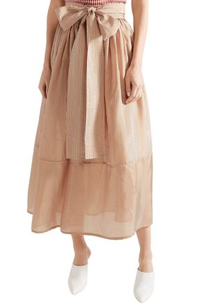 SILVIA TCHERASSI Striped silk-chiffon midi skirt