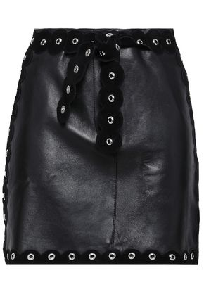 MAJE Eyelet-embellished suede-trimmed leather mini skirt