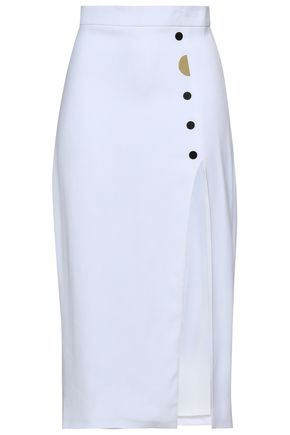 CUSHNIE Dahlia button-embellished stretch-cady pencil skirt