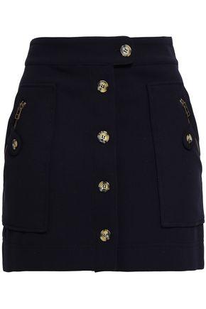 VERONICA BEARD Button-detailed crepe mini skirt