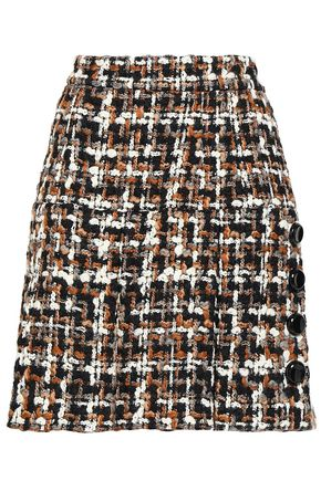 DOLCE & GABBANA Button-embellished wool-blend bouclé-tweed mini skirt