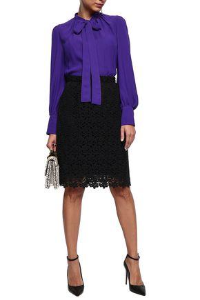 DOLCE & GABBANA Wool-blend guipure lace skirt