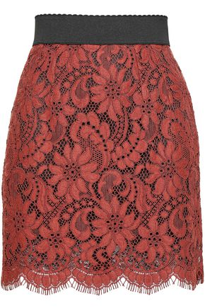 DOLCE & GABBANA Cotton-blend corded lace mini skirt