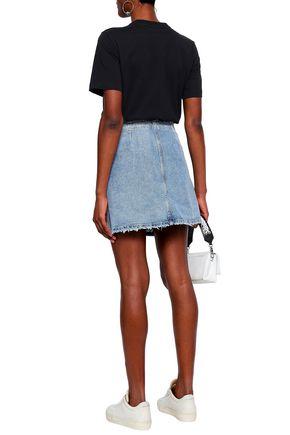 ZOE KARSSEN Frayed denim mini wrap skirt