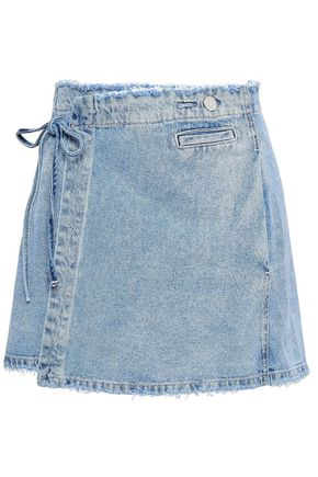 ZOE KARSSEN Frayed denim mini wrap skirt