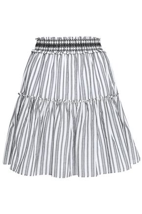 KATE SPADE New York Broome Street pleated striped cotton mini skirt