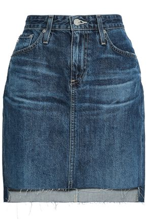 AG JEANS Faded denim mini skirt