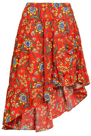 JOIE Floral-print cotton-poplin skirt