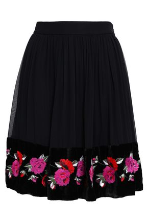 KATE SPADE New York Madison Ave embroidered silk-georgette mini skirt