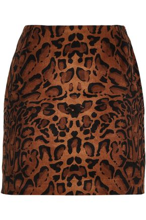 SHRIMPS Leopard-print velvet mini skirt
