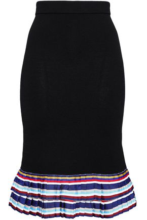 SACHIN & BABI Pleated grosgrain-trimmed knitted skirt