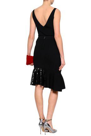 SACHIN & BABI Asymmetric sequin-embellished knitted skirt