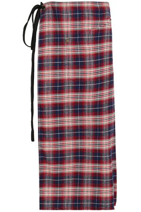 R13 Tartan cotton midi wrap skirt