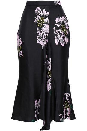PAPER London Ren draped floral-print silk-twill skirt
