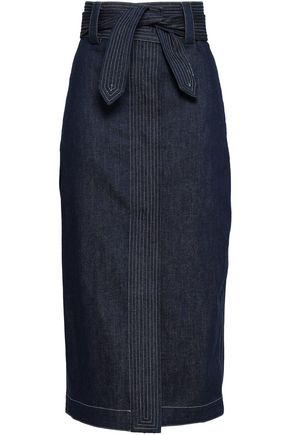 PAPER London Emily belted denim midi skirt
