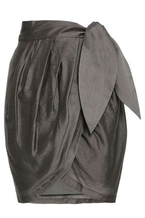 JOIE Draped satin mini wrap skirt