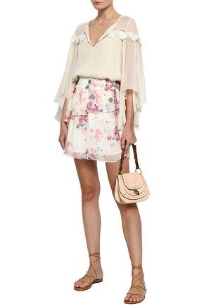 LOVE SAM Ruffled floral-print georgette mini skirt