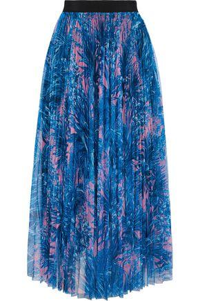 MSGM Pleated printed tulle midi skirt