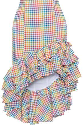 CAROLINE CONSTAS Ruffled gingham seersucker skirt