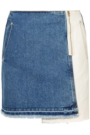 SJYP Wrap-effect two-tone denim mini skirt
