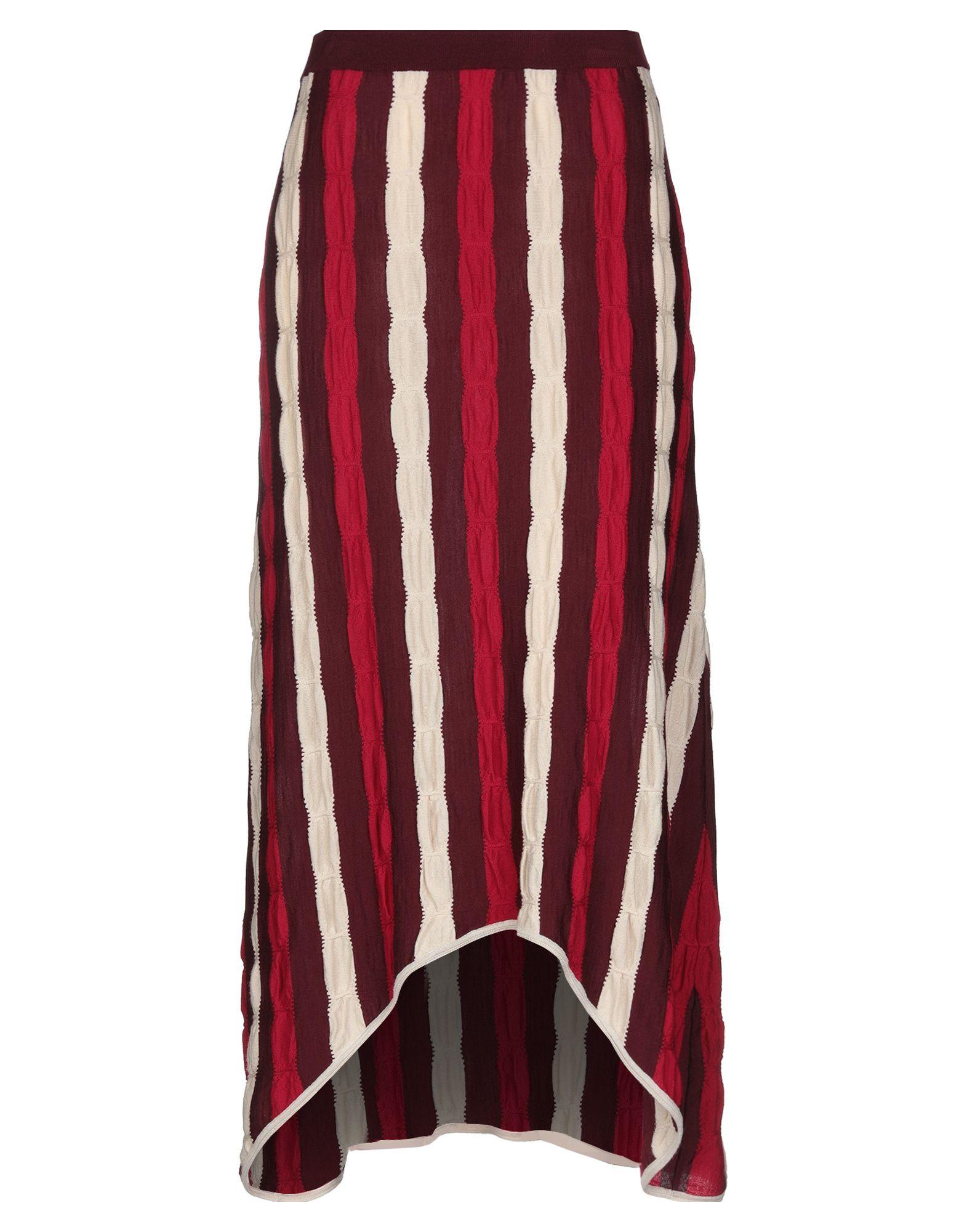MARNI Long skirts. knitted, no appliqués, stripes, elasticized waist, no fastening, asymmetrical hemline, lightweight sweater, unlined, trapeze style. 100% Virgin Wool