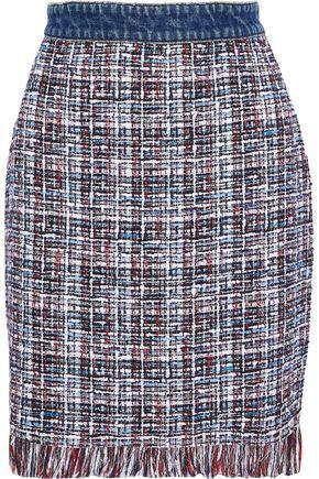 MSGM Frayed cotton-blend bouclé-tweed skirt