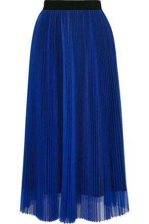 MSGM Grosgrain-trimmed pleated tulle midi skirt