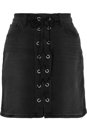 L'AGENCE Portia lace-up denim mini skirt