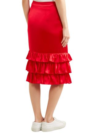 MAGGIE MARILYN Billi Mac ruffled silk-satin skirt