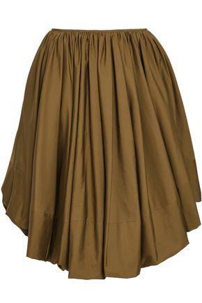 JIL SANDER Pleated cotton-poplin skirt