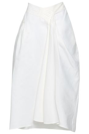 JIL SANDER Pleated cotton-twill midi skirt