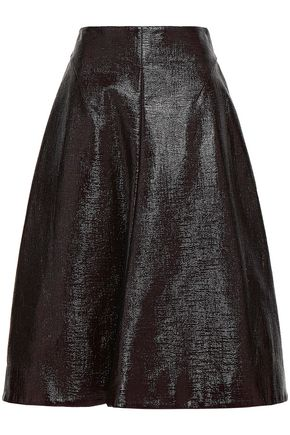 JIL SANDER Coated cotton midi skirt