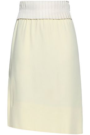 JIL SANDER Pleated faille and crepe de chine skirt