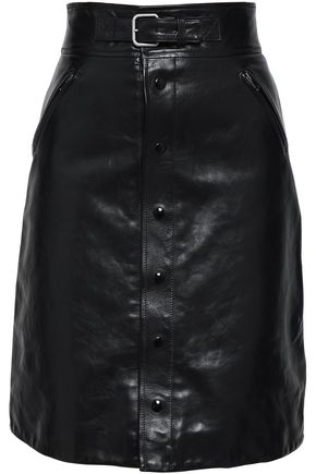 REDValentino Button-detailed leather skirt