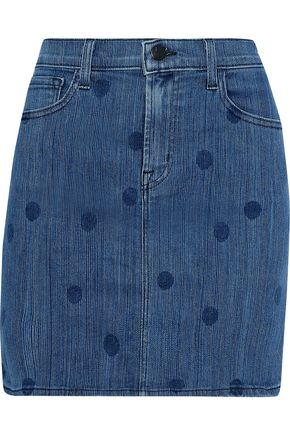 J BRAND Lyla polka-dot denim mini skirt