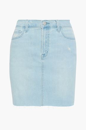 J BRAND Lyla distressed denim mini skirt