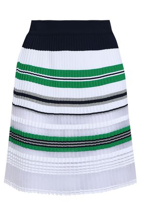 ANTONINO VALENTI Pleated tinsel, open and stretch-knit mini skirt