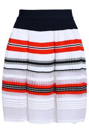 ANTONINO VALENTI Pleated tinsel, open and stretch-knit mini skirt