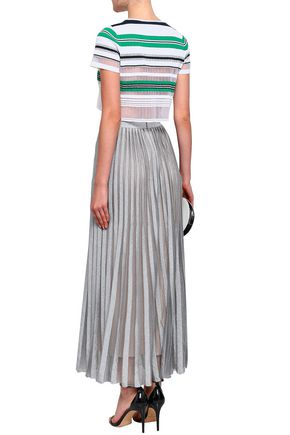 ANTONINO VALENTI Pleated metallic stretch-knit maxi skirt