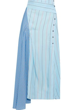 3.1 PHILLIP LIM Asymmetric striped twill and satin midi skirt