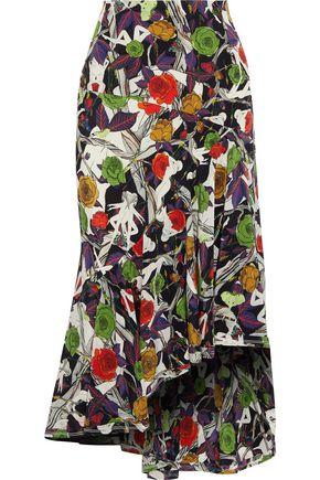 JASON WU Ruffled printed silk midi skirt