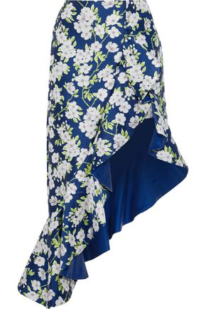 ALICE + OLIVIA Lovetta asymmetric ruffled floral-jacquard skirt