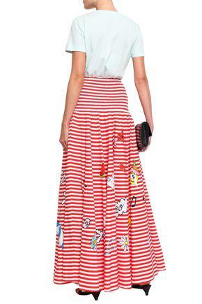 MIRA MIKATI Shirred printed cotton-poplin maxi skirt