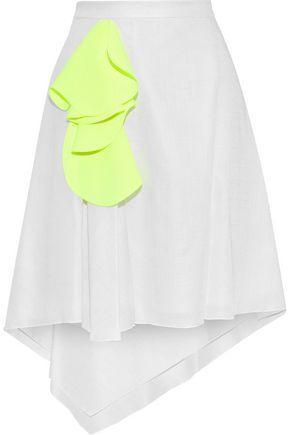DELPOZO Asymmetric neon-appliquéd gauze skirt