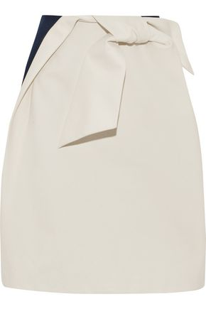 DELPOZO Knotted two-tone cotton-canvas skirt