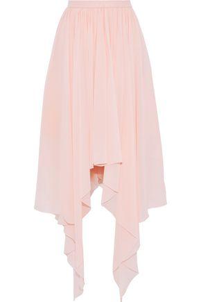 DELPOZO Asymmetric silk-chiffon midi skirt