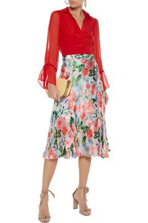 ALICE + OLIVIA Nanette wrap-effect floral-print burnout organza midi skirt